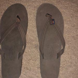 Rainbow brown sandals size 7/8 flip flops women's